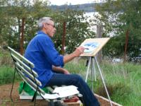 local artists painting on the shore of Lake Purrumbete